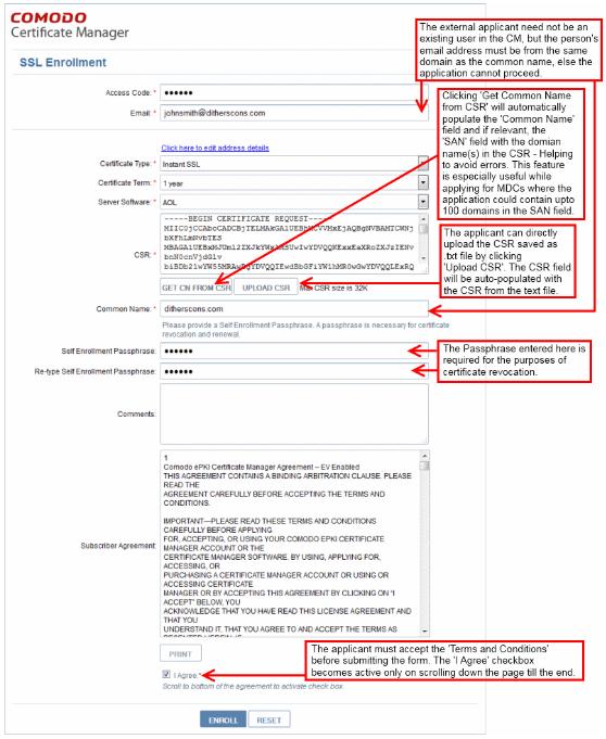Comodo Certificate Manager - SSL Enrollment Sceenshot Expanded